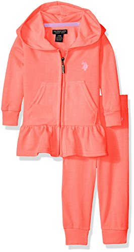 [U.S. Polo Assn. Baby Girls' French Terry Hoody and Jogger Pant, Neon Coral, 24M] (Terry Zip Pocket Pant)