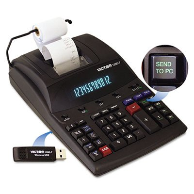 1280-7 Two-Color Printing Calculator w/USB, Black/Red Print, 4.6 Lines/Sec, Sold as 2 Each