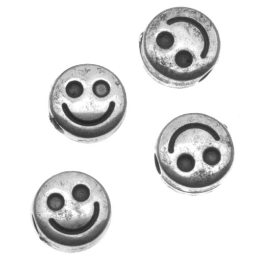 Antiqued Silver Metallized Plastic - Flat Smiley Face Beads 6mm Diameter - Face Diameter