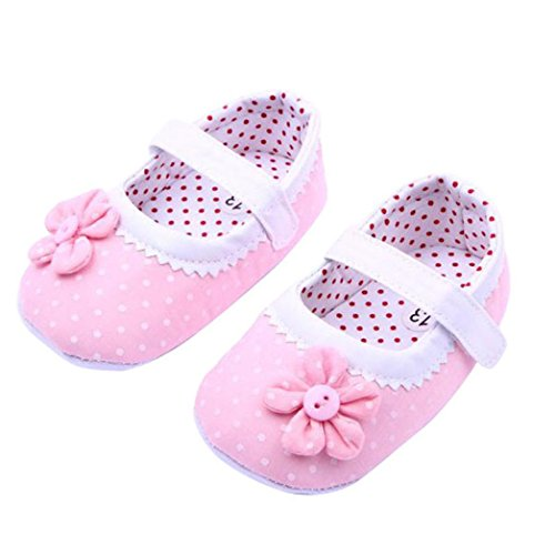 Dot Flower Girl - DZT1968® Baby Girl Cloth Soft Sole Round Dot Prewalker Mary Jane Shoes With Flower (M(6~12 Months), Pink)