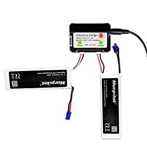 Morpilot For Hubsan x4 Pro H501S Pro H501A H501C 2S 2700mAh 7.4V 10C 20Wh RC Drone LiPo Battery with 2-port Charger High Performance with Charging Protection Genuine Parts Guarrantee Extra Flight Time from Morpilot
