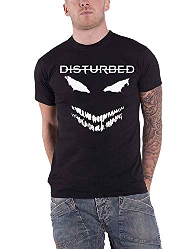 Merch Traffic Disturbed White Scary Face T-Shirt