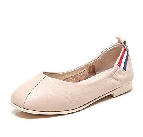con Zapatos Mujer caseros DANDANJIE Cuero Plano Comfort Beige Planos de y Lazy Blanda Zapatos Zapatos de Zapatos Verano Primavera Suela tacón de de E1EqYRw