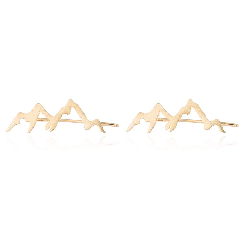 Eleusine Mountain Peak Crawler Earrings Silver Mountains Climbers Wrap Earring for Women Girls Gold
