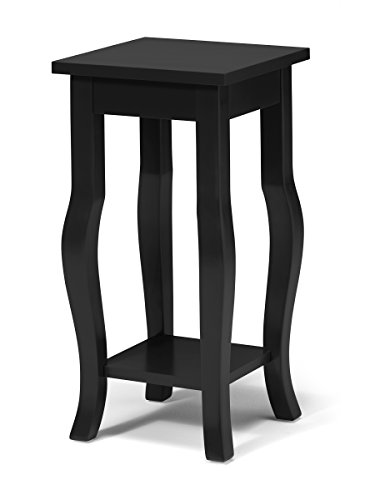 Kate and Laurel Lillian Wood Pedestal End Table Curved Legs with Shelf, Black (Table Pedestal Small)