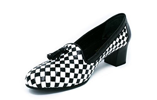 Cuero Mujer Grace Zapato para Colección Tacón Negro de de US BOBERCK Blanco 9 O8YZpw