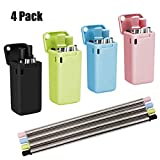 Unilive Collapsible Reusable Stainless Steel Straw - Portable Folding Drinking Straw Food-Grade Metal Drinking Straws and Straws Travel Carrying Case (4 Pack)