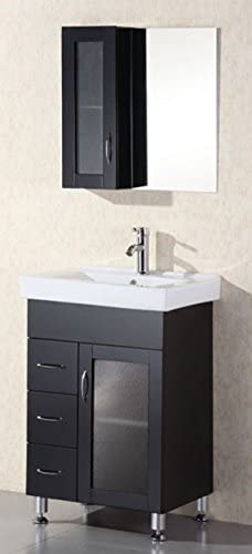 Design Element Oslo Single Porcelain Integrated Drop-In Countertop and Sink Vanity Set, 24-Inch