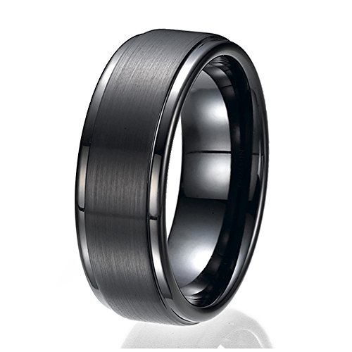 NDSTORE 8MM Flat Top Two Tone Black Tungsten Ring Wedding Band Sizes 9 to 13