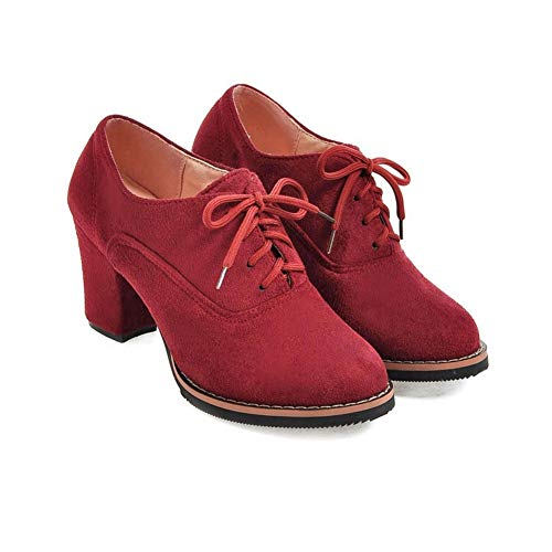 - Women Ankle Booties Lace up High Thick Square Chunky Heel Boots Round Toe Shoes by Lowprofile Red