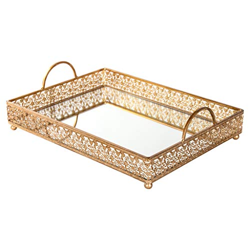Giovanni Gold Mirror Top Serving Tray, Rectangular Metal Ornate Antique Accent Vanity Food Decorative Display Platter Dessert Cupcake Holder Food Snacks Wine Butler Antique Mirror Tray Table