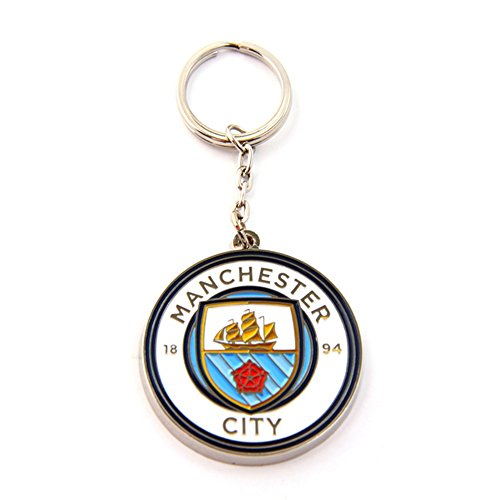 Manchester+City+FC+Official+Metal+Football%2FSoccer+Crest+Keyring+%28One+Size%29+%28White%2FBlue%29