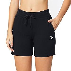 Baleaf Women's Activewear Yoga Lounge Shorts With Pockets Black Size M