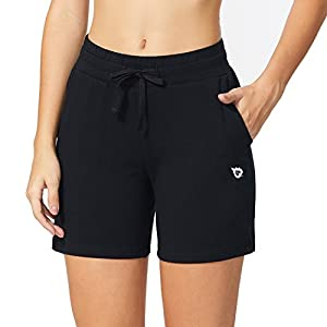BALEAF Women's 5″ Casual Cotton Shorts Lounge Yoga Pajama Walking Shorts with Pockets Activewear