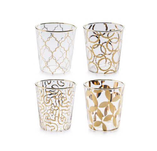 - Rosanna 94984 Luxe Moderne Double Old Fashioned Glass, Clear/Gold, Set of 4