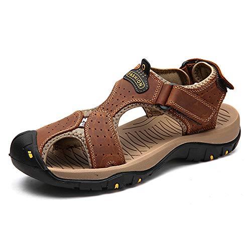 SRF6 Men's Shoes Leather Men's Sandals Summer Beach Sandals Size 48(Brown 01,6.5)