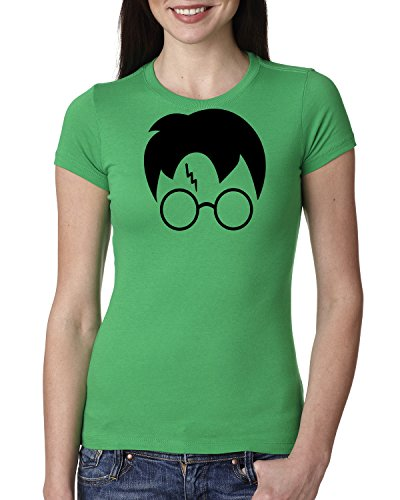 Wild Bobby Harry Potter Glasses Lightning Bolt Scar Hair | Womens Pop Culture Junior Fit Tee Graphic T-Shirt, Kelly Black, - Style Potter Glasses Harry