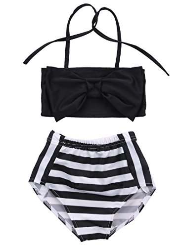 Baby Girls Striped bathing suit baby Swimsuit Bathing Swimming Clothes (4-5 Year, Black)