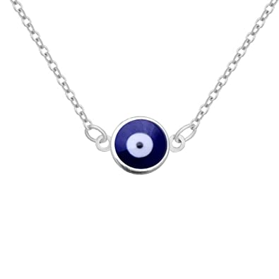 Amazon.com  Supper Small 9 mm Navy Blue Evil Eye Pendant Necklace 18