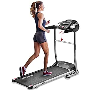EiioX Folding Treadmill 1.5HP, 56.3″ x 25.2″, Quiet Exercise Machine with MP3, Audio Auxiliary Port, EKG Grip for Home use
