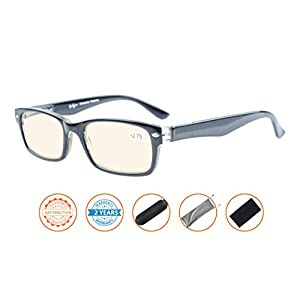 Reduce Eyestrain,Anti Blue Rays,UV Protection Computer Reading Glasses(Black,Amber Tinted Lenses) +1.0