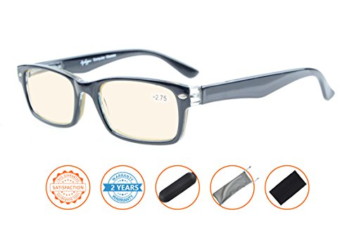 Reduce Eyestrain,Anti Blue Rays,UV Protection Computer Reading Glasses(Black,Amber Tinted Lenses) - Computer Glasses Lens