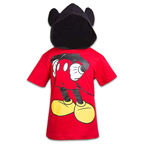 Disney Mickey Mouse Boys Hooded Shirt Mickey Friends Costume Tee (Red, -