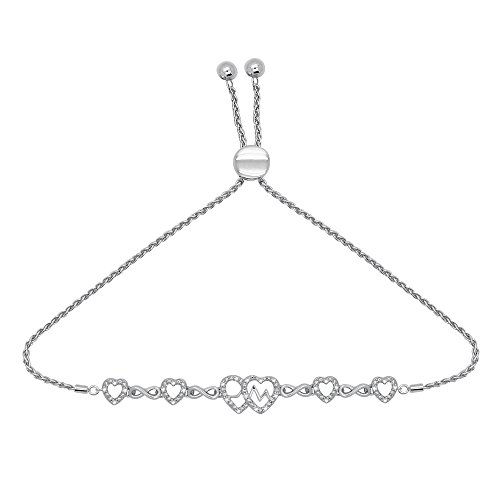 OMEGA JEWELLERY 925 Sterling Silver Diamond Infinity Heart Bolo Bracelet (1/8 Ct, I2-Clarity, J-Color)