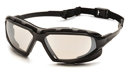 Pyramex Safety Highlander XP Eyewear, Black-Gray Frame/Indoor-Outdoor Mirror Anti-Fog Lens