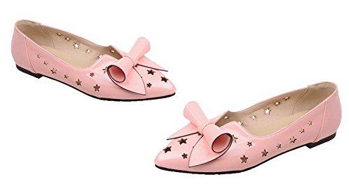 Amoonyfashion Kvinners Lave Hæler Spisse Tå Patent Lær Solide Pumper-sko Rosa
