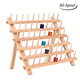 HAITRAL 60-Spool Thread Rack, Wooden Thread Holder Sewing Organizer for Sewing, Quilting, Embroidery, Hair-braiding