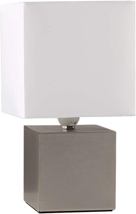 Modern Brushed Chrome Cube Design Touch Dimmer Bedside Table Lamp with a White Fabric Light Shade