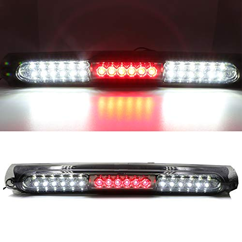 For 1997-2003 Ford F150, 2004 Ford F150 Heritage LED Third 3rd Brake Cargo Light Assembly, High Mount Stop Tail Light Replacement (Black Housing Smoke Lens)