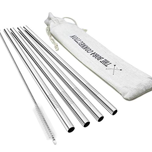 Reuseable Stainless Steel Boba Straws | Smoothies Milkshake Drinking Bubble Tea Metal Jumbo Wide Fat 9.5 x 0.5 | Set of 4 + Cleaning Brush + Travel Linen Pouch | FDA Approved Material