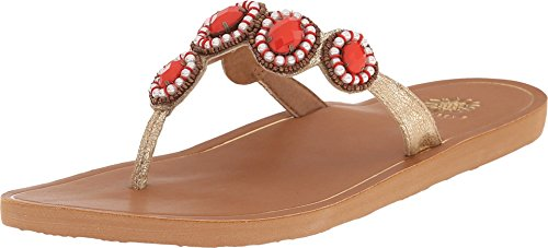 Jeweled Thongs (Yellow Box Women's Cranberry Coral 8.5)