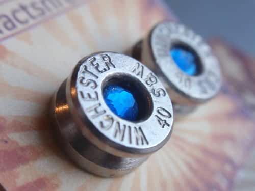Bullet Earrings 40 Caliber silver with Sapphire Blue Crystal Stud style by: Artifacts N Relics
