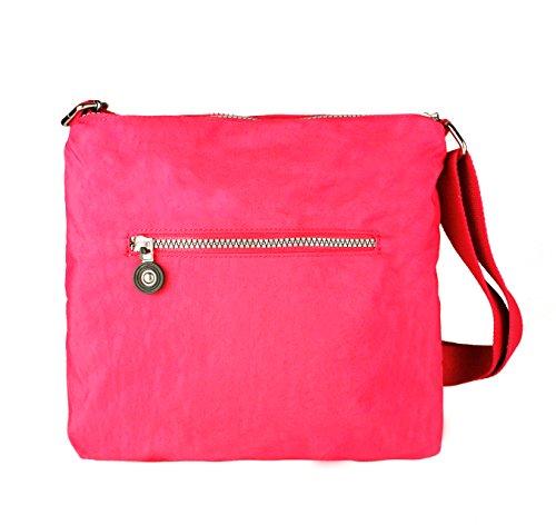 Ladies Style Bag Women's Fushia Pockets Zip 28x25x6 CM Messenger Crossbody Shoulder Nylon Multiple Handbag Size SqYRqWT8v