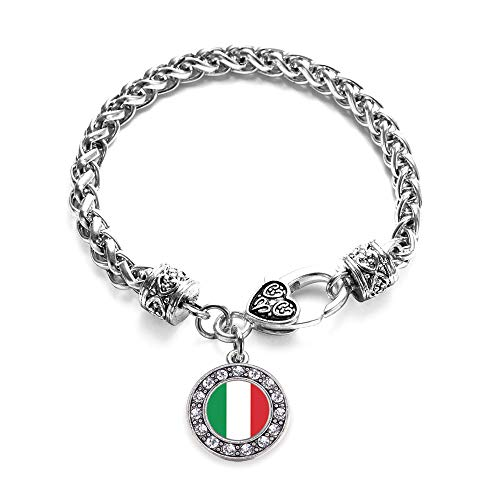 Inspired Silver - Italian Flag Braided Bracelet for Women - Silver Circle Charm Bracelet with Cubic Zirconia Jewelry