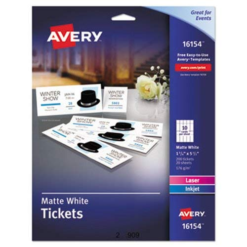 (Printable Tickets w/Tear-Away Stubs, 1-3/4 x 5-1/2, Matte White, 200 Tickets/Pk, Sold as 200 Each)