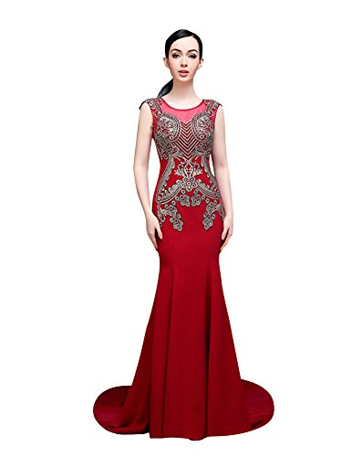 Emily Weinrot Beauty Strass Bodycon Kapelle Zug Hochzeitskleid Applique 6wq0FqdxH