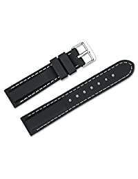 24mm Replacement Rubber Watch Band - Silicone Rubber - Black w/ white stitching Watch Strap