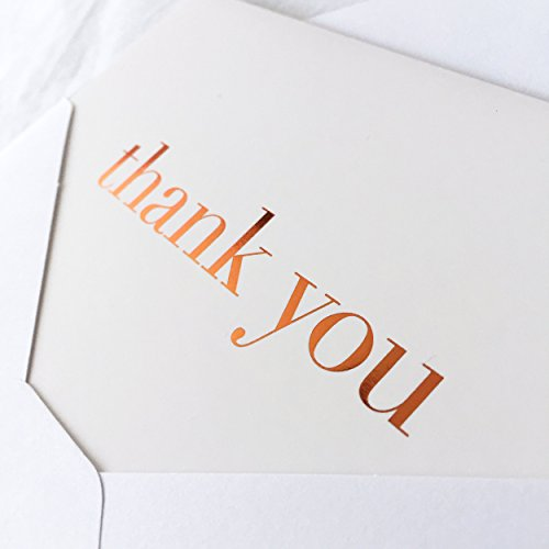 20 Pack Thank You Note Cards Set Box - Copper Foil with Non-resealable White Envelopes + Bonus ()