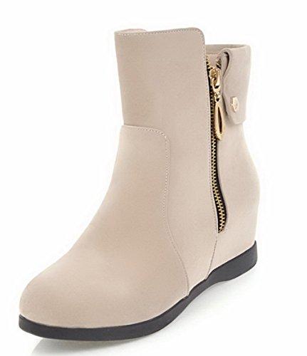 AgooLar Damen Gemischte Farbe PU Mittler Absatz Reißverschluss Rund Zehe Stiefel, Cremefarben, 34