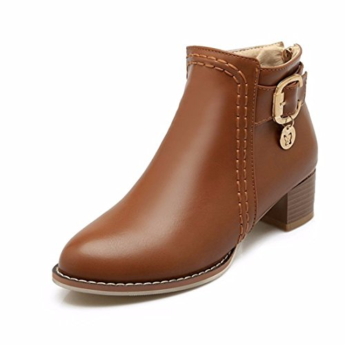 En el otoño y el invierno lady cinturón con botas botas tamaño Brown (Terry)