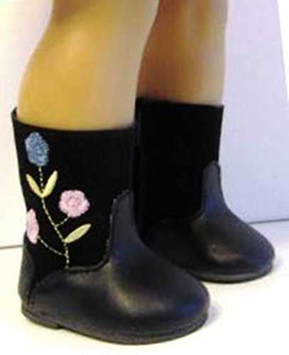 """Black Buckle Boots for 18/"""" American Girl Doll Black Boots Black Doll Boots Shoes"""