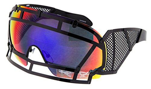 KTZ x Linda Farrow Football Helmet Sunglasses Black Steel Orange Mirrored - Ktz Sunglasses