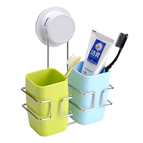 Victorian Wall Mounted Soap Dispenser (FAMLOVE Toothbrush Holder Stainless Steel Wall Mounted Bathroom Toothbrush Holder Set Modern Blue Green with 2 Cups Large Capacity Toothpate Holders)