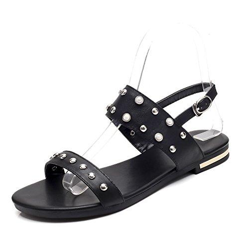 Strass Mode Noir Aisun Sandales Chaussures Plage Rivets Fille Plates Femme q1WwPtA