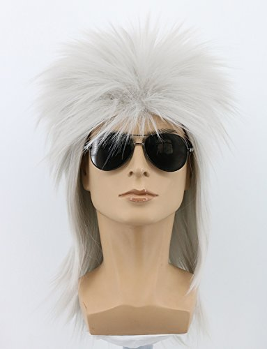 (Yuehong 70s 80s Heavy Metal Halloween White Wigs Costume Spiked Rocker Wig Mullet Wigs (White) )