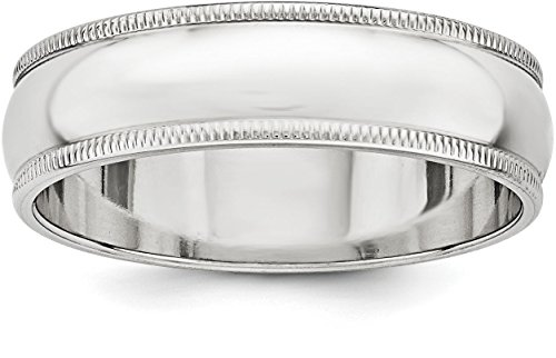 Sterling Silver 6mm Plain Half Round Classic Wedding Band with Double Milgrain Edge - Size 9.5